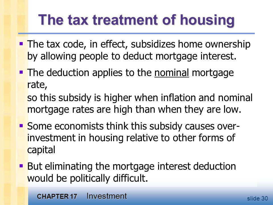 CHAPTER 17 Investment slide 30 The tax treatment of housing The tax code, in effect, subsidizes home ownership by allowing people to deduct mortgage interest.