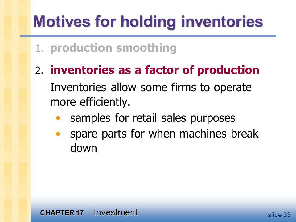 CHAPTER 17 Investment slide 33 Motives for holding inventories 2.