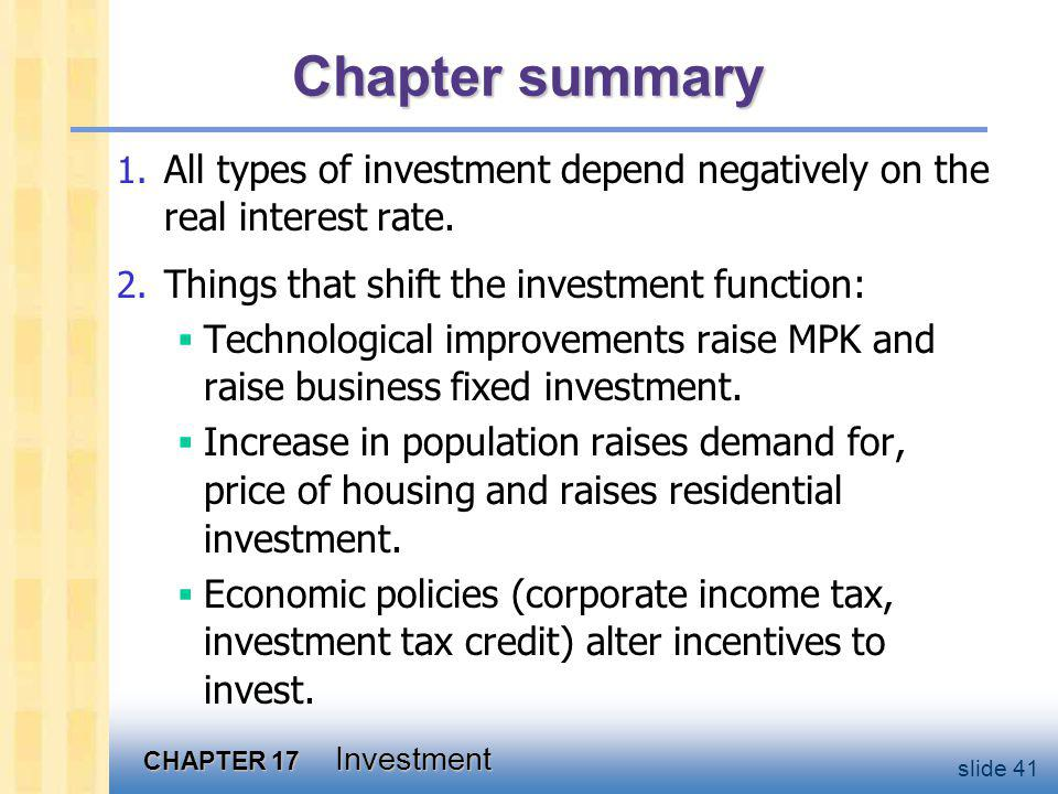 CHAPTER 17 Investment slide 41 Chapter summary 1.