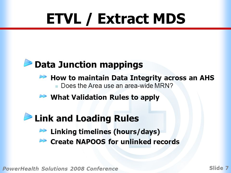 Slide 8 PowerHealth Solutions 2008 Conference ETVL / Extract MDS Need to develop SBB extracts to standardise ETVL Different Source Information Systems No uniform dataset/extract Survey of all AHS revealed Lack of State-wide Clinical System standards, with the exception of PAS and Pharmacy Information management naming conventions HIE & Data management standards and business practices Some Areas lack clinical feeder system capability to support detailed patient level costing Confusion about the impacts of eMR on information availability.