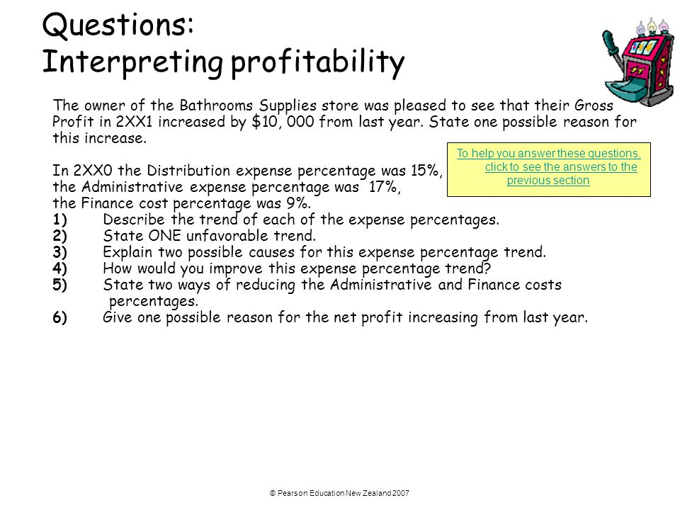 © Pearson Education New Zealand 2007 Questions: Interpreting profitability The owner of the Bathrooms Supplies store was pleased to see that their Gro