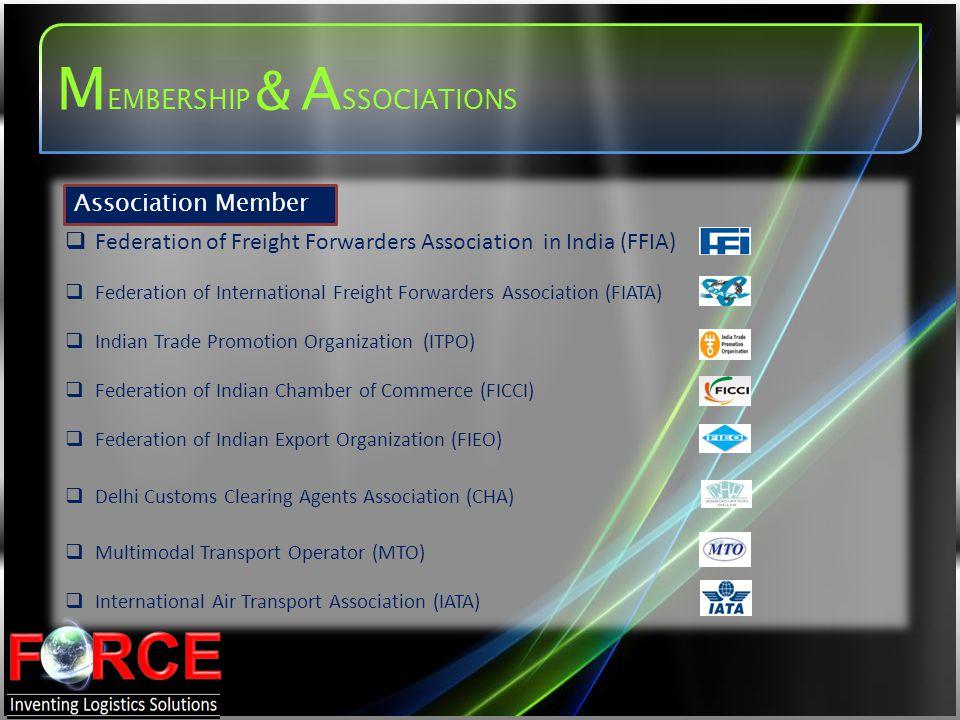Association Member Federation of Freight Forwarders Association in India (FFIA) Federation of International Freight Forwarders Association (FIATA) Ind