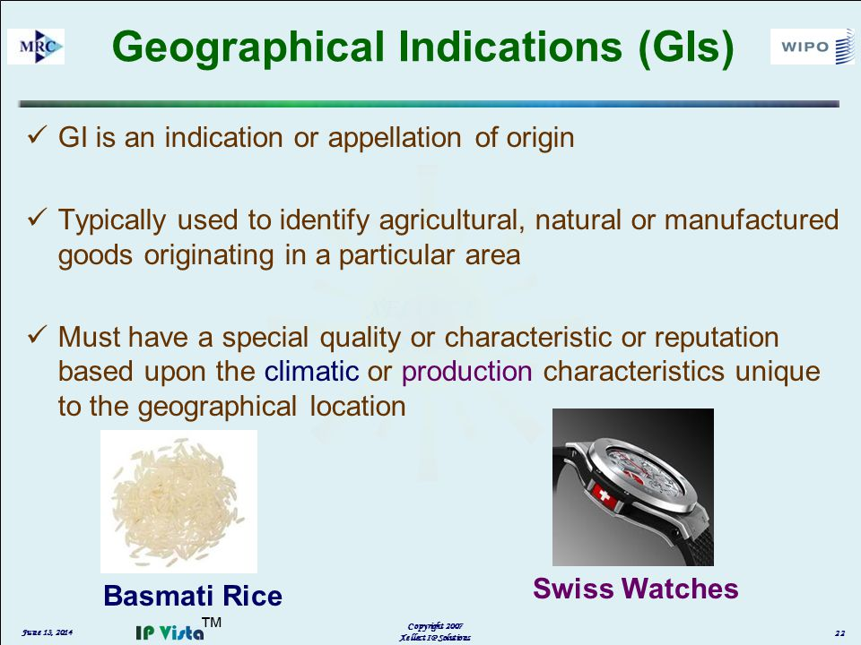 GI is an indication or appellation of origin Typically used to identify agricultural, natural or manufactured goods originating in a particular area Must have a special quality or characteristic or reputation based upon the climatic or production characteristics unique to the geographical location June 13, 2014 Copyright 2007 Xellect IP Solutions 22 Geographical Indications (GIs) Basmati Rice Swiss Watches