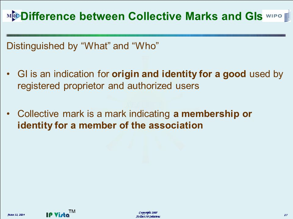 Difference between Collective Marks and GIs Distinguished by What and Who GI is an indication for origin and identity for a good used by registered proprietor and authorized users Collective mark is a mark indicating a membership or identity for a member of the association June 13, 2014 Copyright 2007 Xellect IP Solutions 27