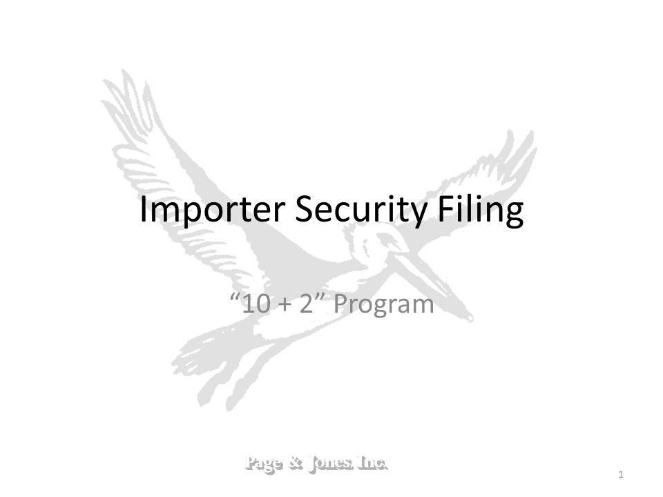 Importer Security Filing 10 + 2 Program 1