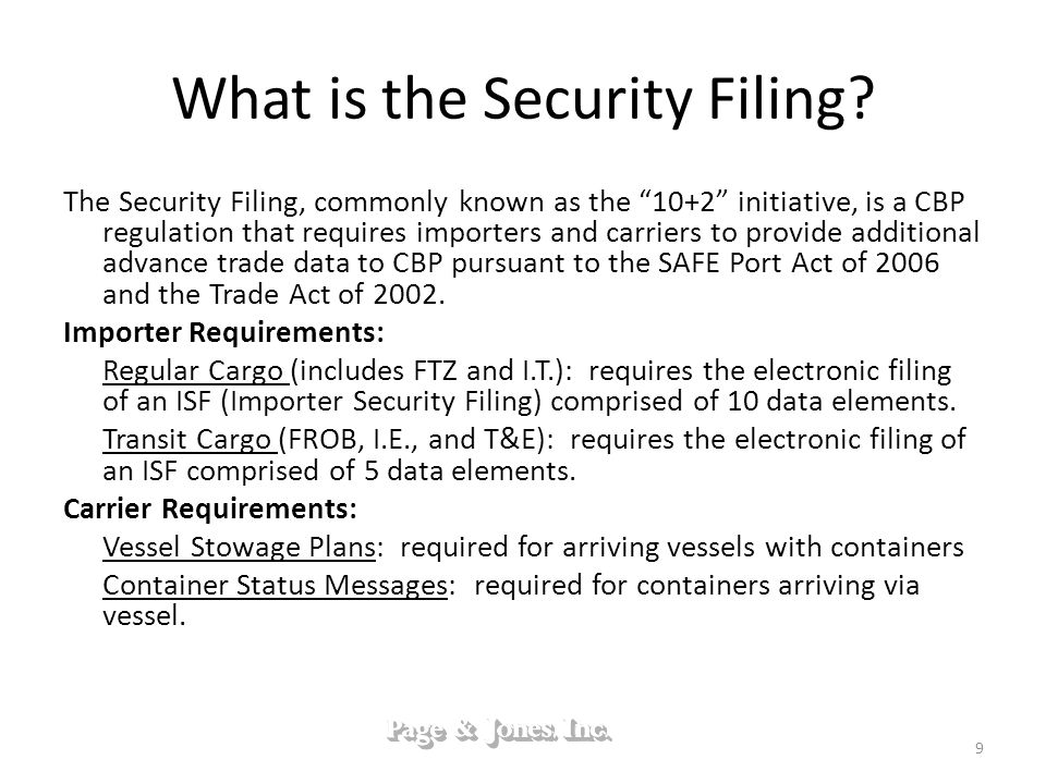 What is the Security Filing.