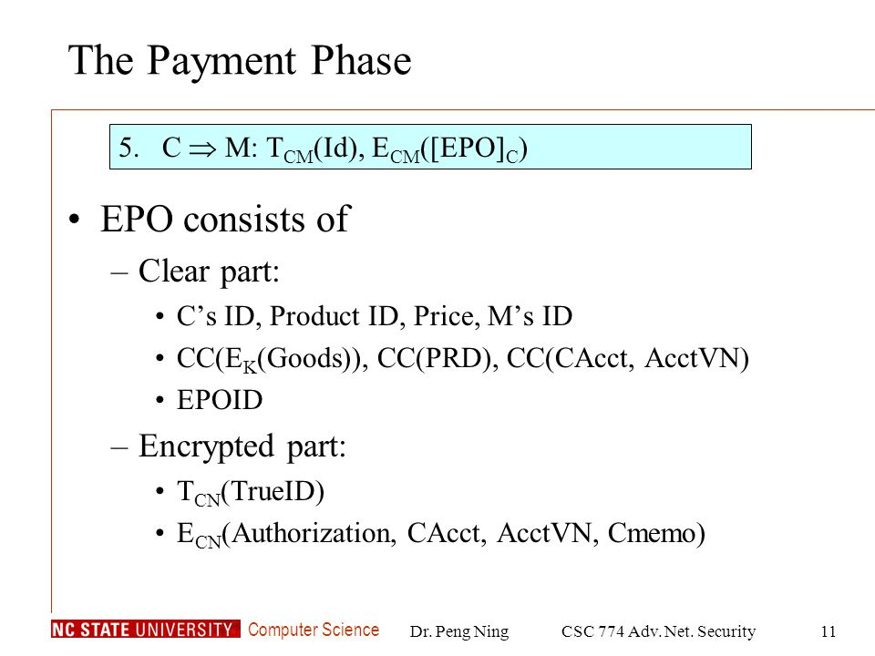 Computer Science Dr. Peng NingCSC 774 Adv. Net. Security11 The Payment Phase EPO consists of –Clear part: Cs ID, Product ID, Price, Ms ID CC(E K (Good