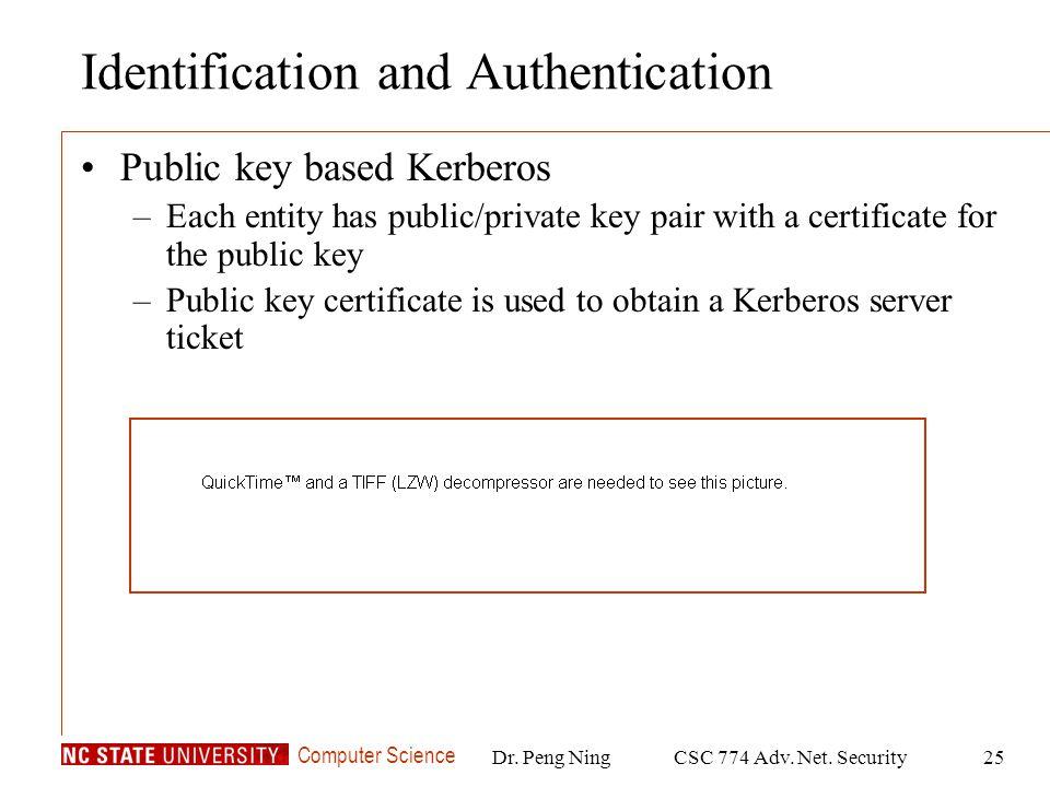 Computer Science Dr. Peng NingCSC 774 Adv. Net. Security25 Identification and Authentication Public key based Kerberos –Each entity has public/private