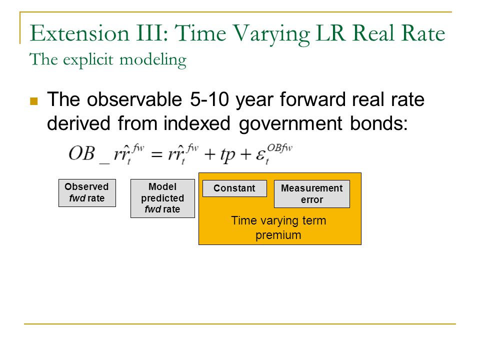 The observable 5-10 year forward real rate derived from indexed government bonds: Extension III: Time Varying LR Real Rate The explicit modeling Obser