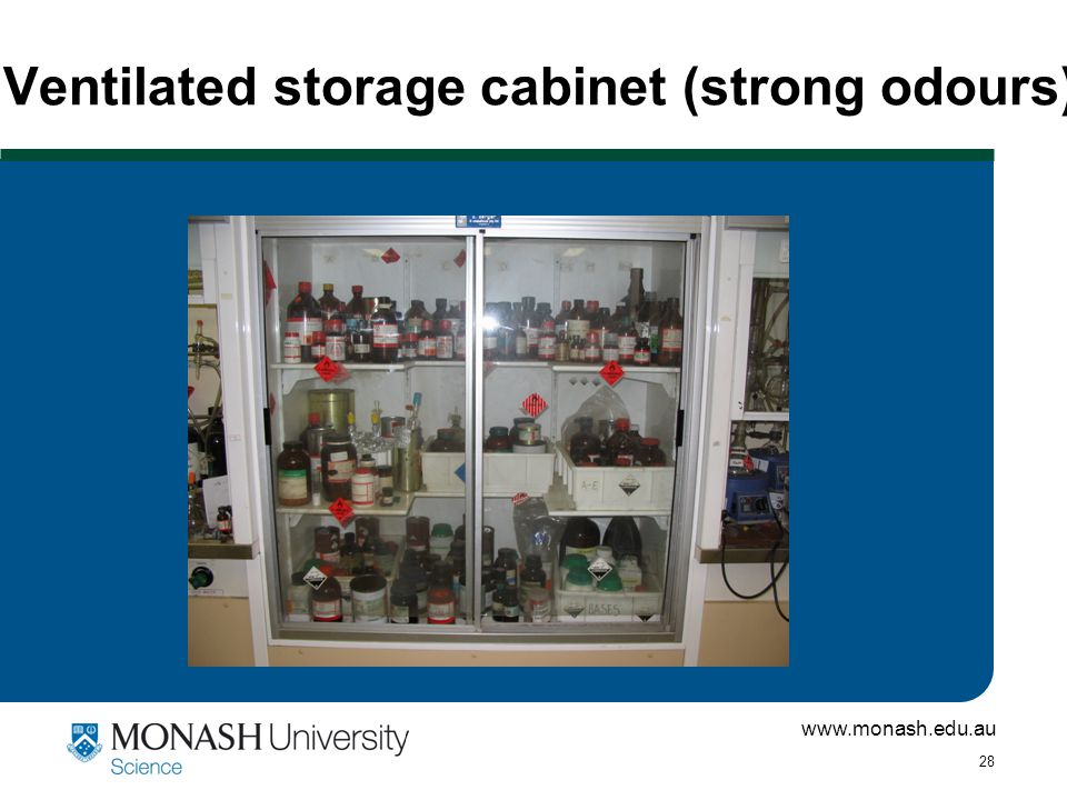 www.monash.edu.au 28 Ventilated storage cabinet (strong odours)