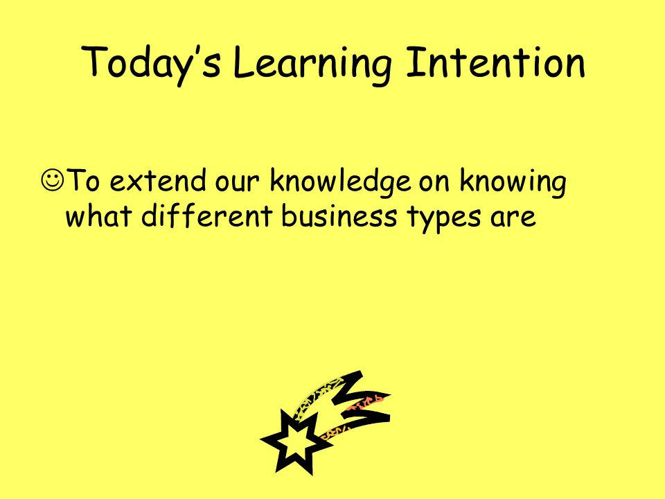 Todays Learning Intention To extend our knowledge on knowing what different business types are