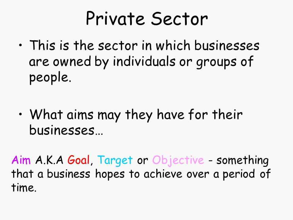 Private Sector This is the sector in which businesses are owned by individuals or groups of people. What aims may they have for their businesses… Aim