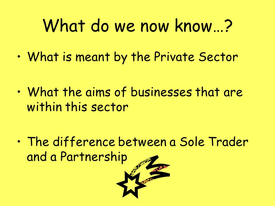 What do we now know…? What is meant by the Private Sector What the aims of businesses that are within this sector The difference between a Sole Trader