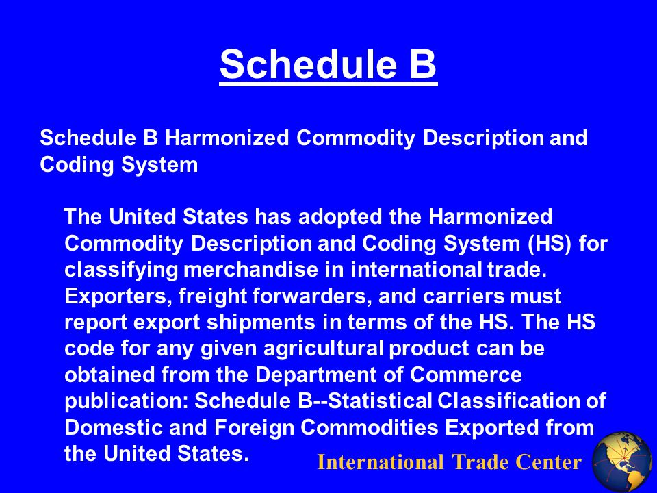International Trade Center Schedule B Schedule B Harmonized Commodity Description and Coding System The United States has adopted the Harmonized Commodity Description and Coding System (HS) for classifying merchandise in international trade.