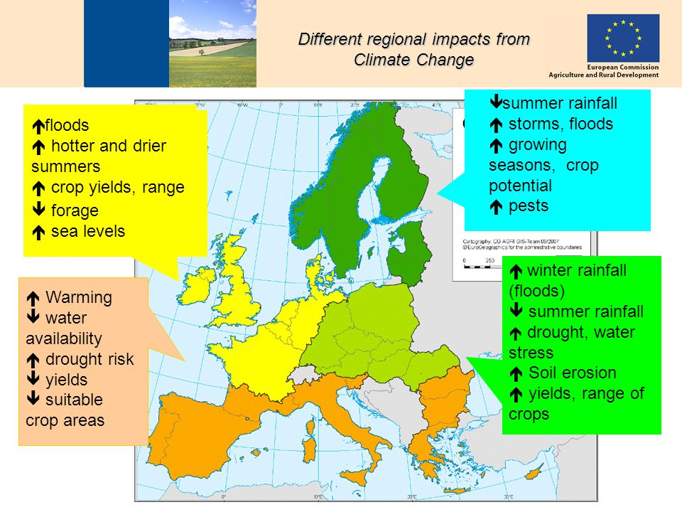 C. FolkesonCAP perspectives 4 Different regional impacts from Climate Change Warming water availability drought risk yields suitable crop areas floods