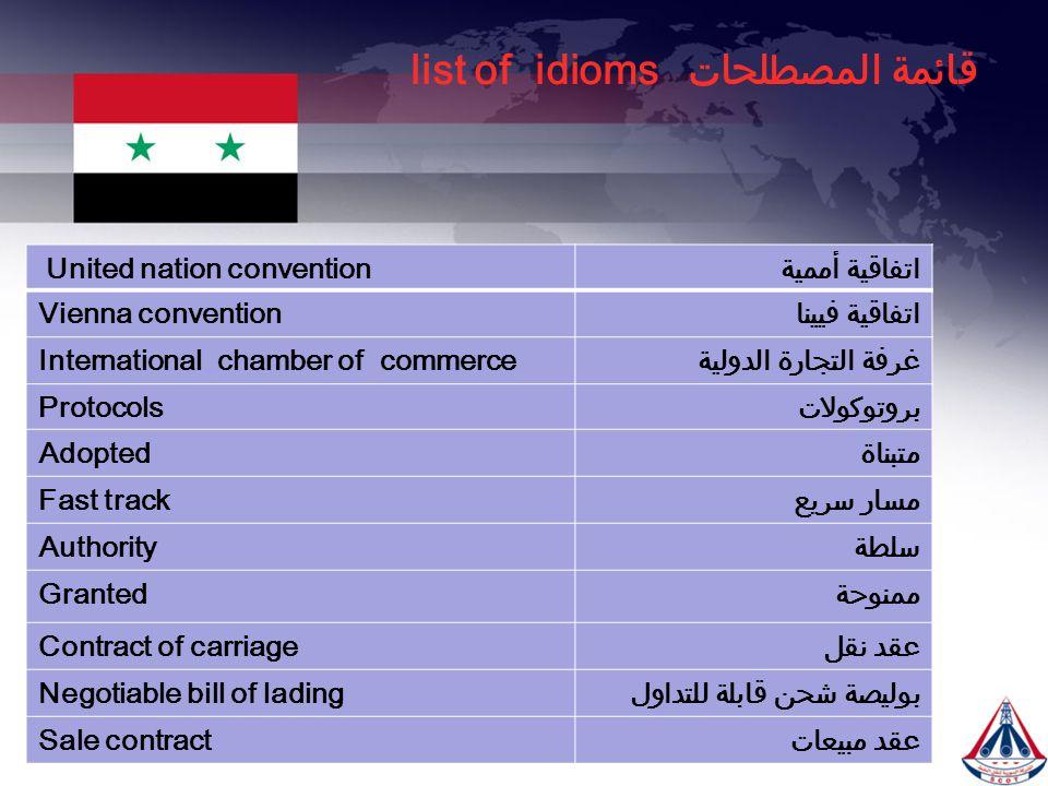 قائمة المصطلحات list of idioms اتفاقية أممية United nation convention اتفاقية فييناVienna convention غرفة التجارة الدوليةInternational chamber of comm