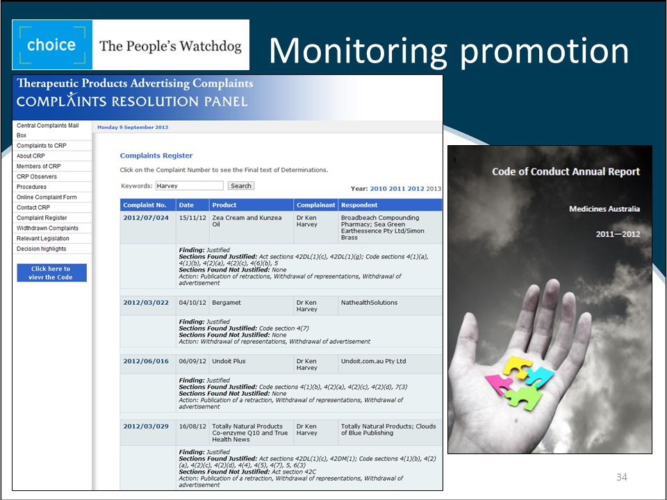 Monitoring promotion 34