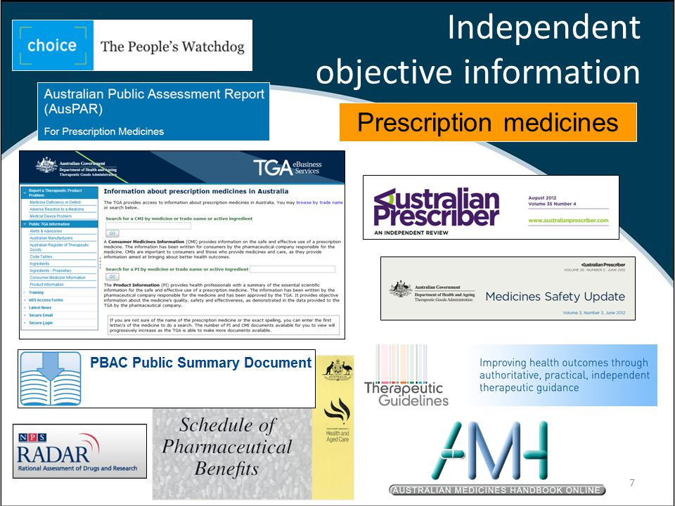 Independent objective information Prescription medicines 7