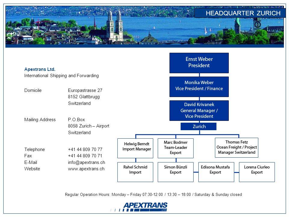 HEADQUARTER ZURICH Apextrans Ltd.
