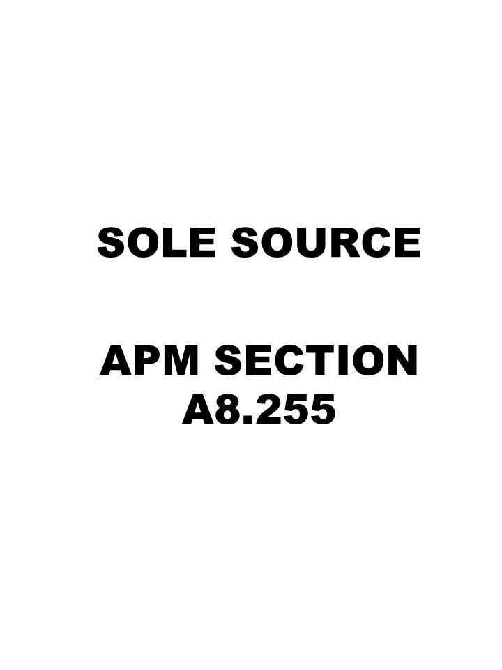 SOLE SOURCE APM SECTION A8.255