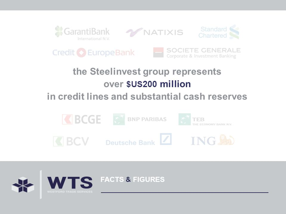 FACTS & FIGURES the Steelinvest group represents over $US 200 million in credit lines and substantial cash reserves