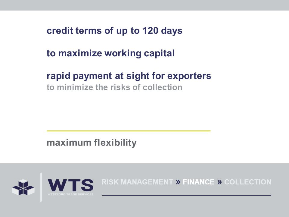 credit terms of up to 120 days to maximize working capital rapid payment at sight for exporters to minimize the risks of collection maximum flexibility RISK MANAGEMENT » FINANCE » COLLECTION