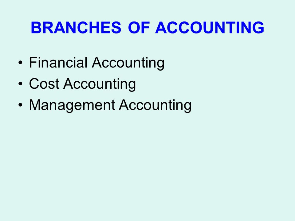 BRANCHES OF ACCOUNTING Financial Accounting Cost Accounting Management Accounting