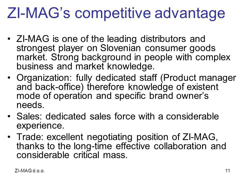 ZI-MAG d.o.o.11 ZI-MAGs competitive advantage ZI-MAG is one of the leading distributors and strongest player on Slovenian consumer goods market.