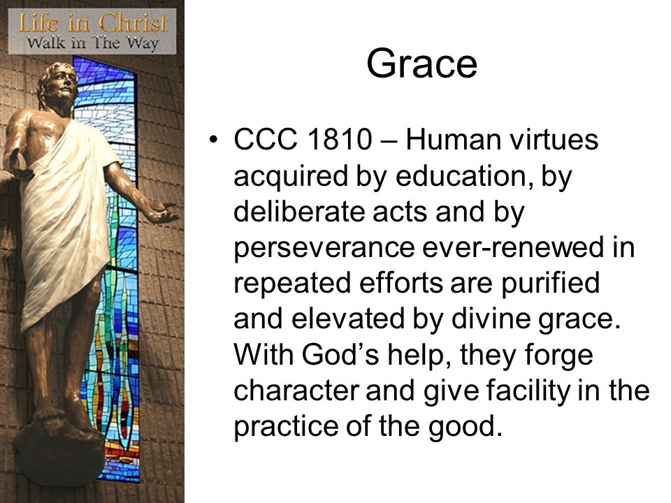 Grace CCC 1810 – Human virtues acquired by education, by deliberate acts and by perseverance ever-renewed in repeated efforts are purified and elevated by divine grace.
