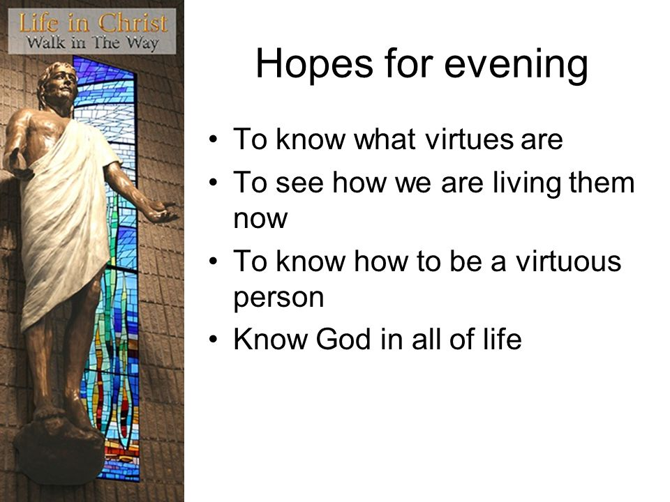 Hopes for evening To know what virtues are To see how we are living them now To know how to be a virtuous person Know God in all of life