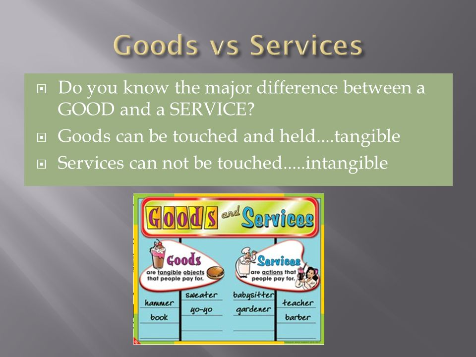 Do you know the major difference between a GOOD and a SERVICE.