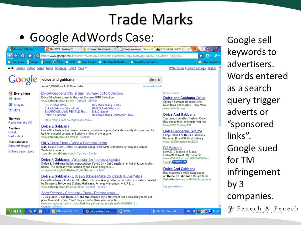 Trade Marks Google AdWords Case: Google sell keywords to advertisers.