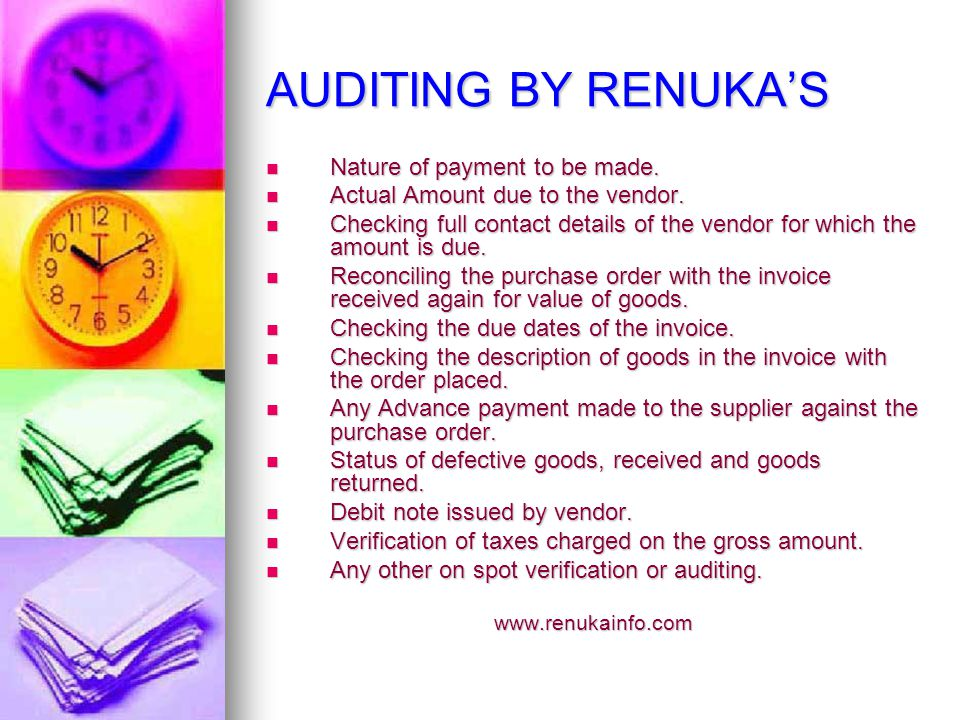 AUDITING BY RENUKAS Nature of payment to be made. Nature of payment to be made.
