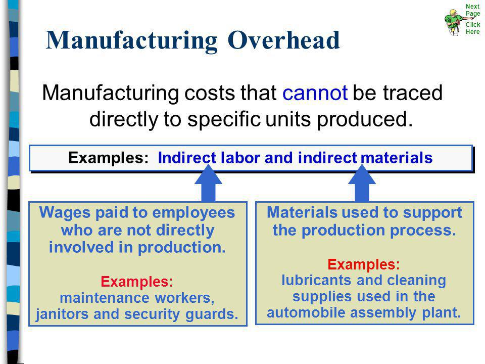 Manufacturing costs that cannot be traced directly to specific units produced. Manufacturing Overhead Examples: Indirect labor and indirect materials