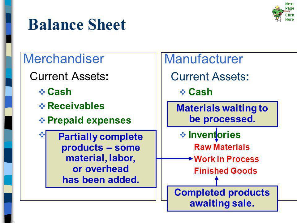 Merchandiser Current Assets: Cash Receivables Prepaid expenses Merchandise inventory Manufacturer Current Assets: v Cash v Receivables v Prepaid Expen