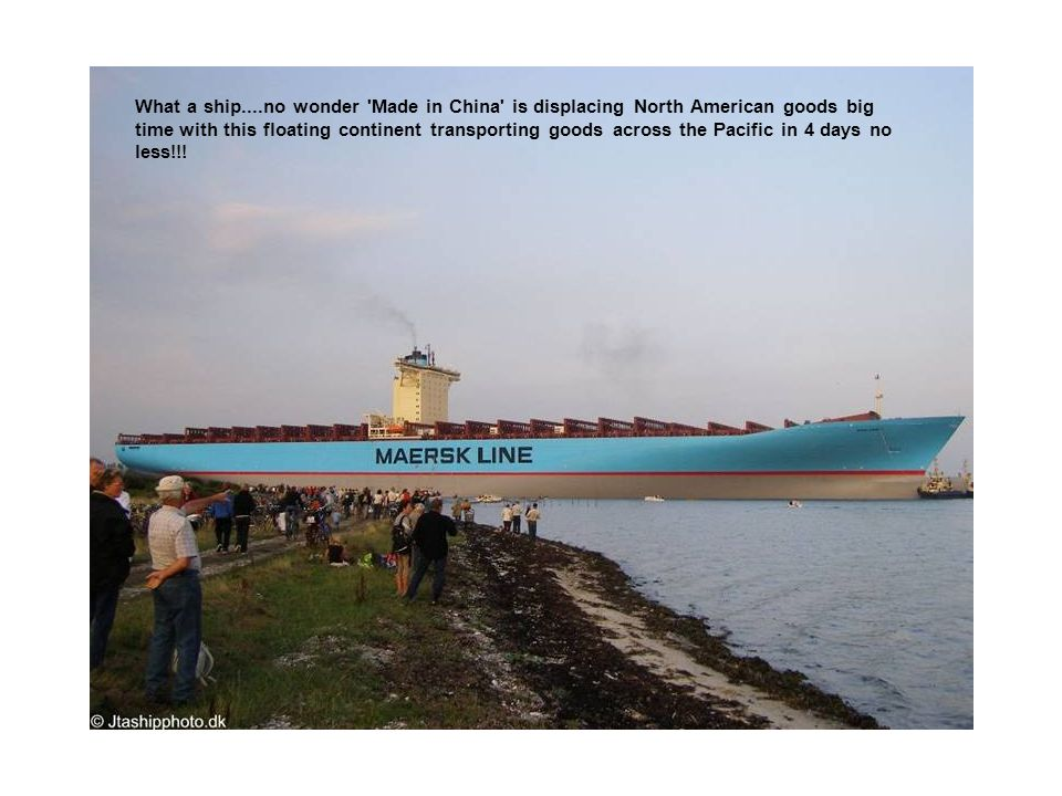 What a ship....no wonder Made in China is displacing North American goods big time with this floating continent transporting goods across the Pacific in 4 days no less!!!