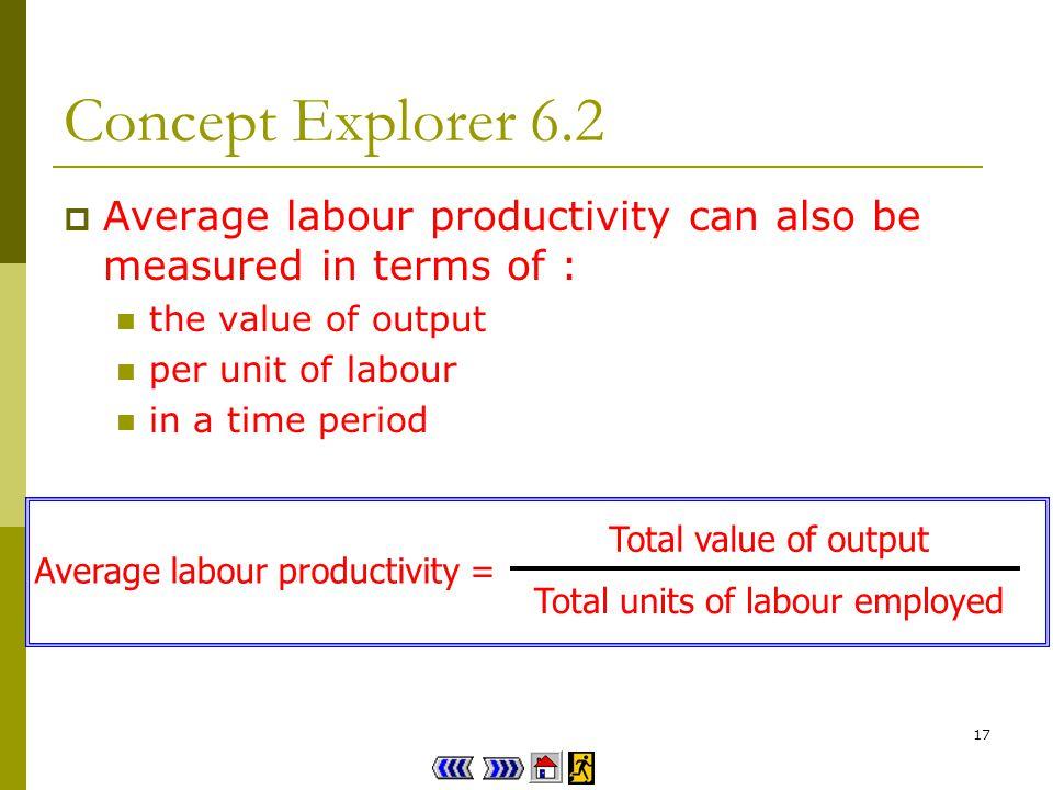 16 Concept Explorer 6.2 Firm As average labour productivity = 1 600 100 x8 = 2 units of output per man-hour Firm Bs average labour productivity = 1 800 80 x12 = 1.875 units of output per man-hour As Firm A produces more / less output from a unit of labour, it has a lower / higher average labour productivity.