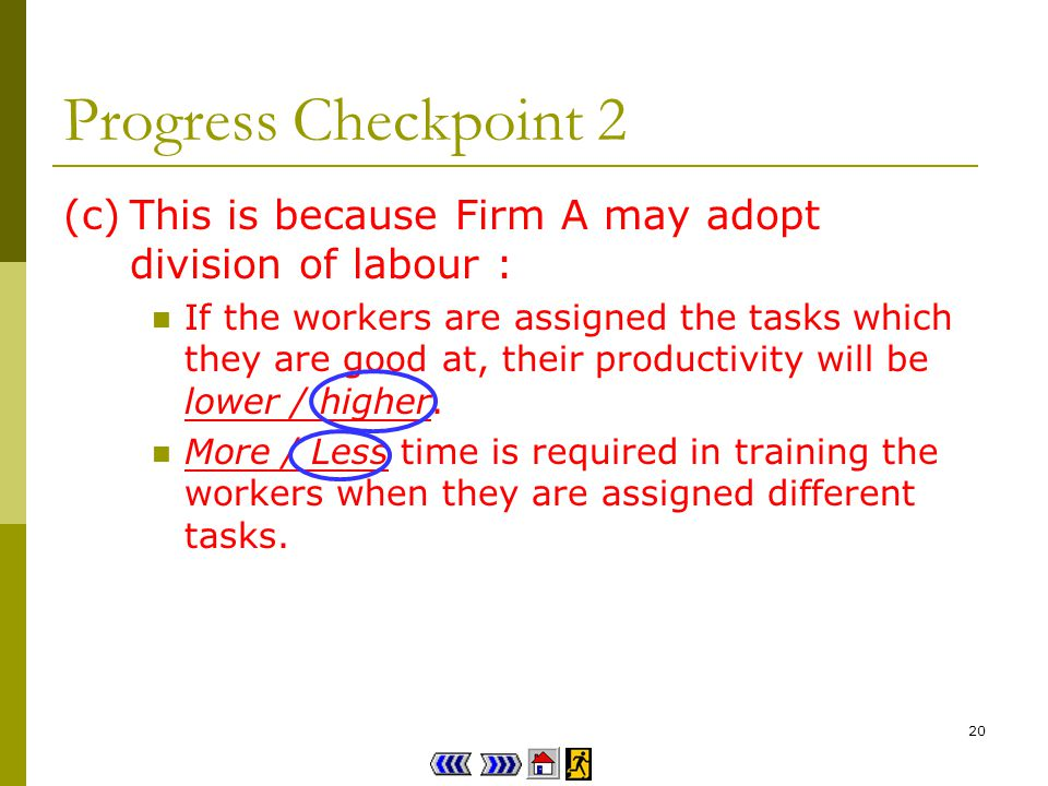 19 Progress Checkpoint 2 (a)Firm A / B employs more workers.