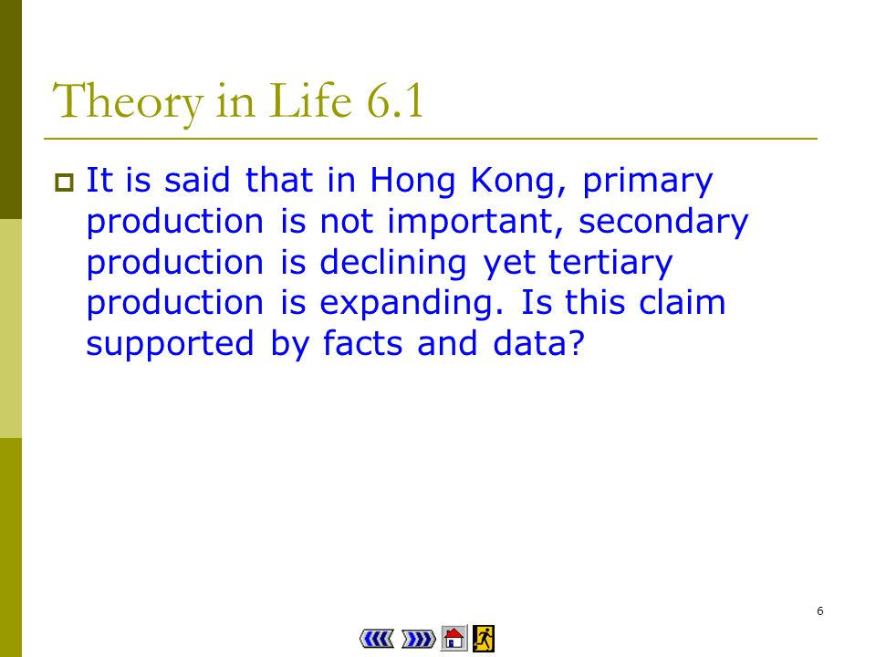 6 Theory in Life 6.1 It is said that in Hong Kong, primary production is not important, secondary production is declining yet tertiary production is expanding.