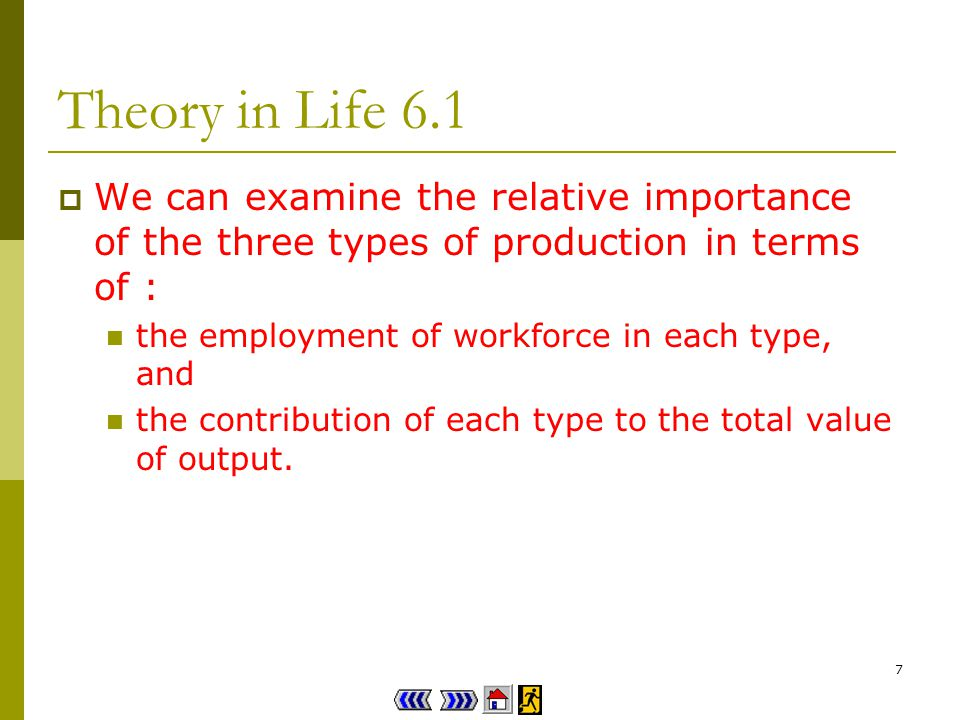 7 Theory in Life 6.1 We can examine the relative importance of the three types of production in terms of : the employment of workforce in each type, and the contribution of each type to the total value of output.