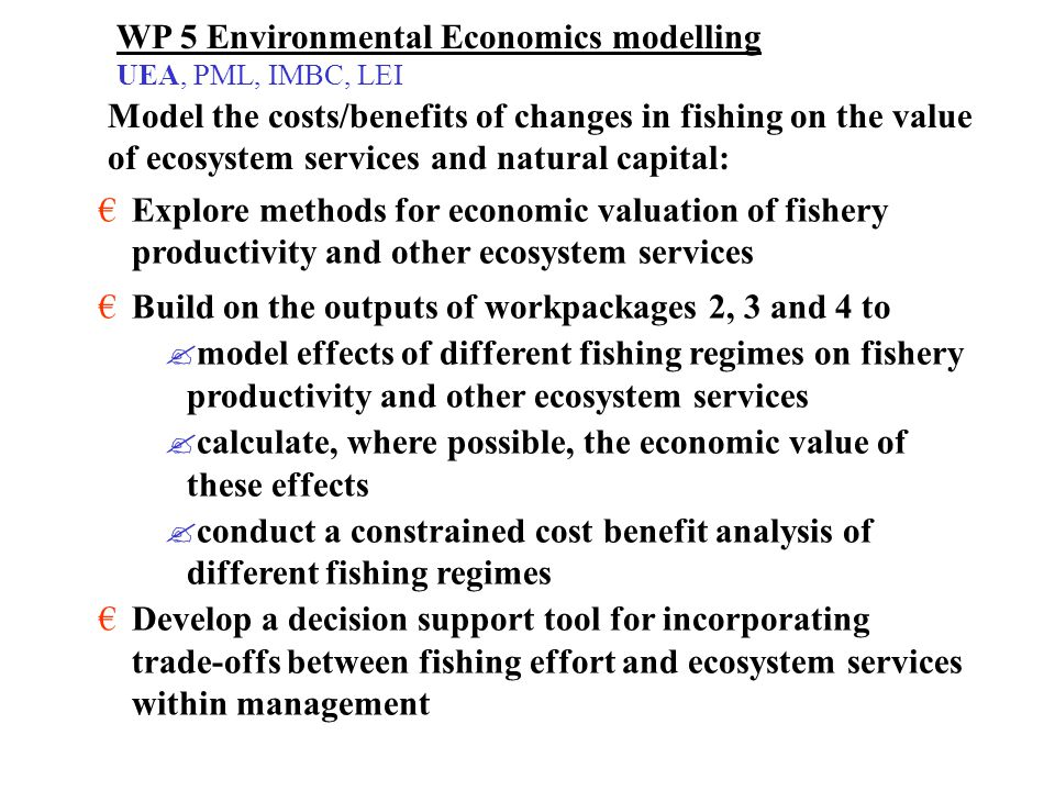 WP 5 Environmental Economics modelling UEA, PML, IMBC, LEI Explore methods for economic valuation of fishery productivity and other ecosystem services