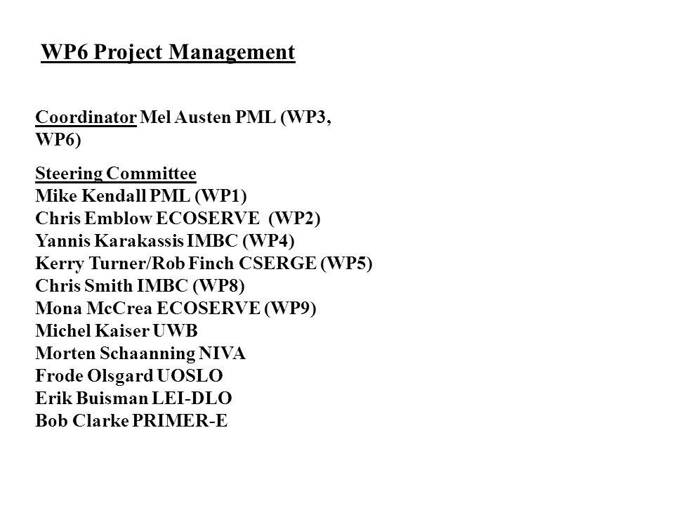 WP6 Project Management Coordinator Mel Austen PML (WP3, WP6) Steering Committee Mike Kendall PML (WP1) Chris Emblow ECOSERVE (WP2) Yannis Karakassis I