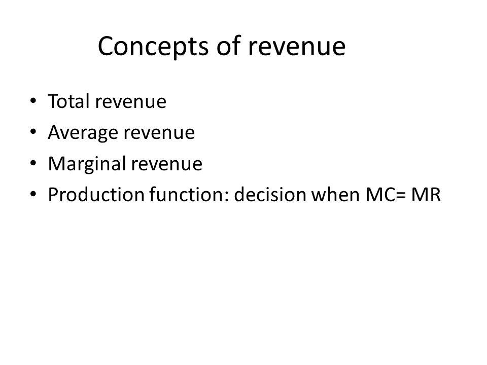 Concepts of revenue Total revenue Average revenue Marginal revenue Production function: decision when MC= MR