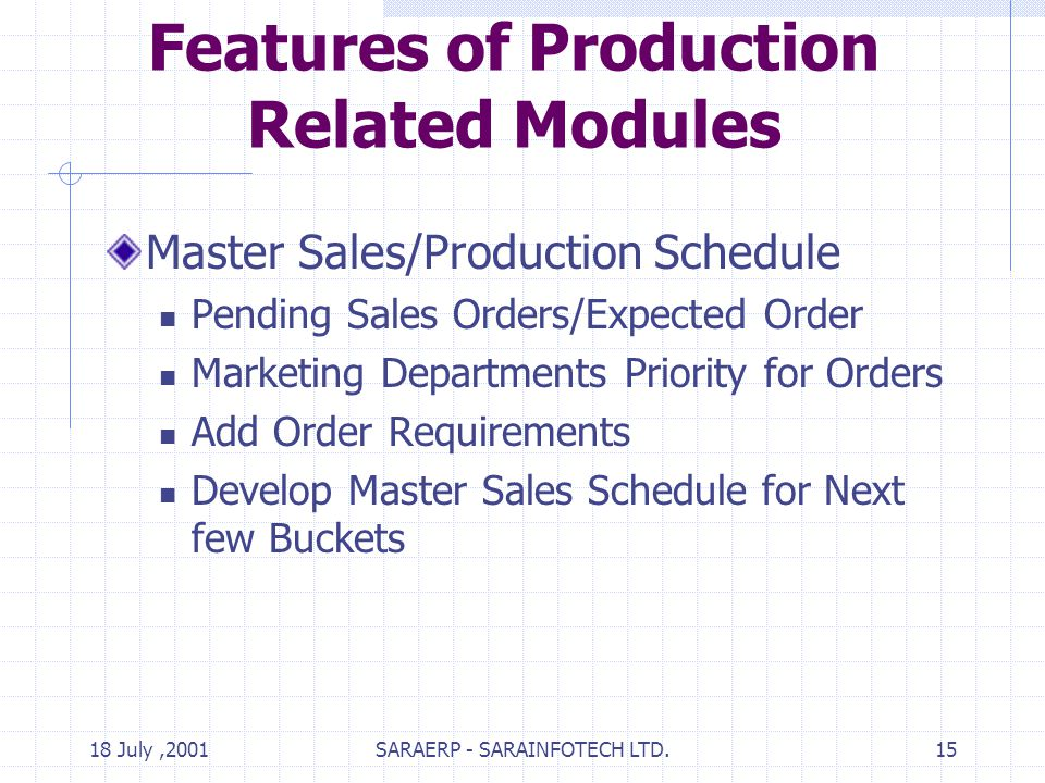18 July,2001SARAERP - SARAINFOTECH LTD.15 Features of Production Related Modules Master Sales/Production Schedule Pending Sales Orders/Expected Order Marketing Departments Priority for Orders Add Order Requirements Develop Master Sales Schedule for Next few Buckets