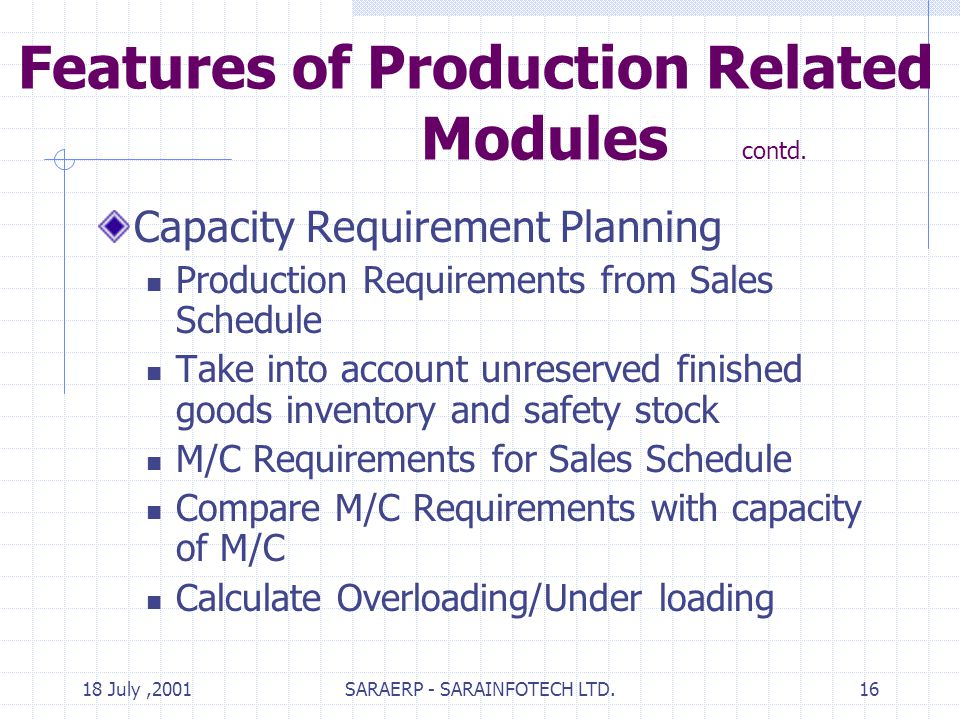 18 July,2001SARAERP - SARAINFOTECH LTD.16 Features of Production Related Modules contd.