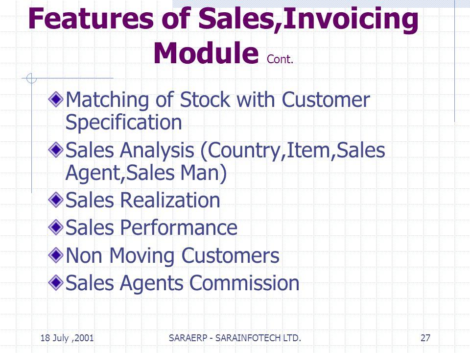 18 July,2001SARAERP - SARAINFOTECH LTD.27 Features of Sales,Invoicing Module Cont.