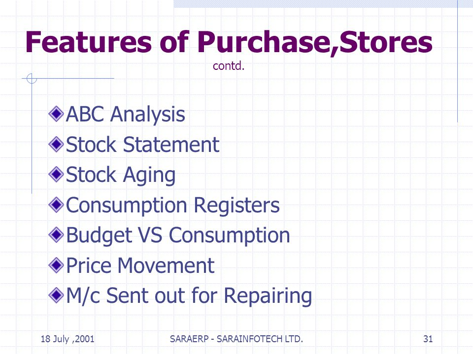 18 July,2001SARAERP - SARAINFOTECH LTD.31 Features of Purchase,Stores contd.