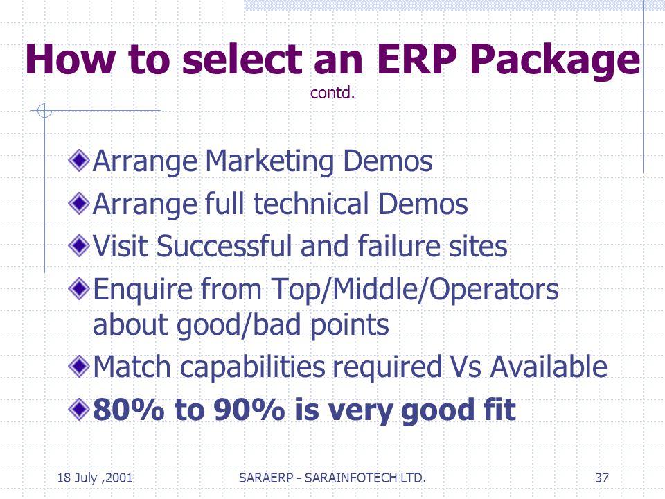18 July,2001SARAERP - SARAINFOTECH LTD.37 How to select an ERP Package contd.