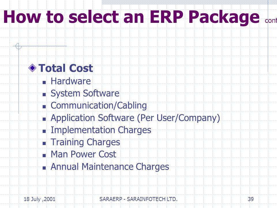 18 July,2001SARAERP - SARAINFOTECH LTD.39 How to select an ERP Package contd.