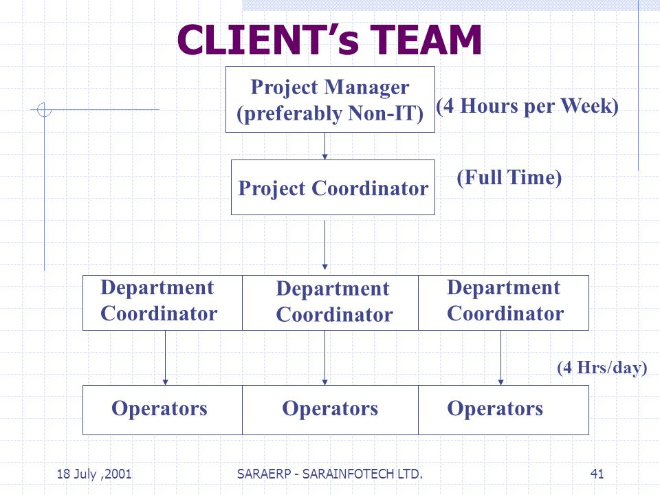 18 July,2001SARAERP - SARAINFOTECH LTD.41 CLIENTs TEAM Project Manager (preferably Non-IT) Project Coordinator Department Coordinator Department Coordinator Department Coordinator (4 Hours per Week) (Full Time) (4 Hrs/day) Operators